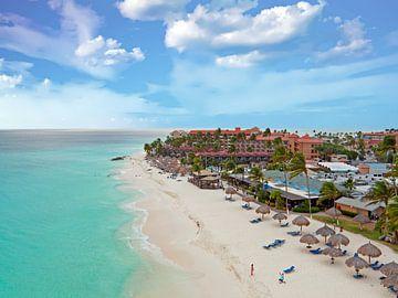 Aerial van Druif beach op Aruba  in de Caribbean  van Nisangha Masselink