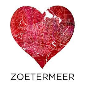Amour pour Zoetermeer | Plan de la ville dans un cœur sur Wereldkaarten.Shop