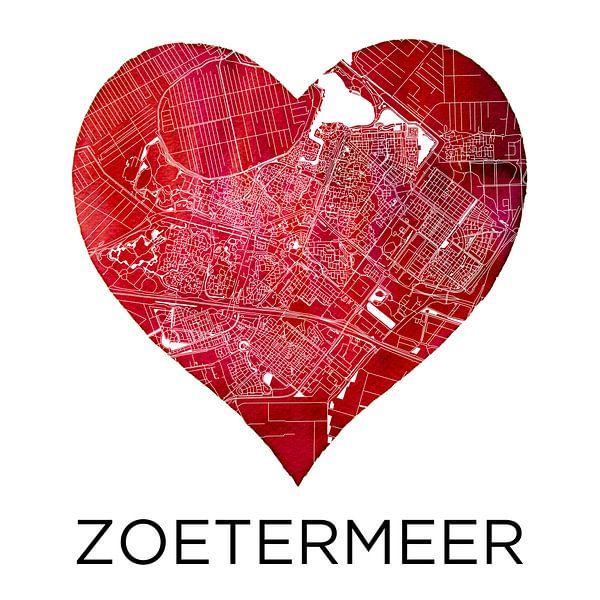 Liefde voor Zoetermeer  |  Stadskaart in een hart van Wereldkaarten.Shop