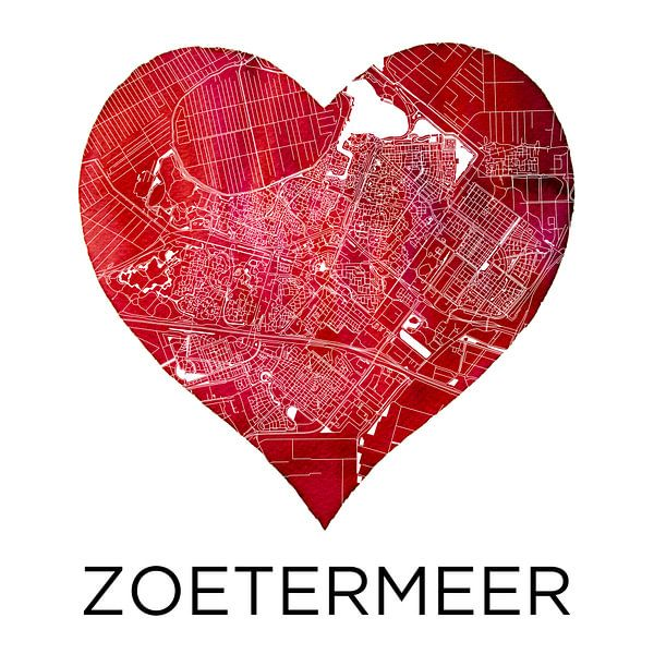 Liebe für Zoetermeer | Stadtplan im Herzen von Wereldkaarten.Shop