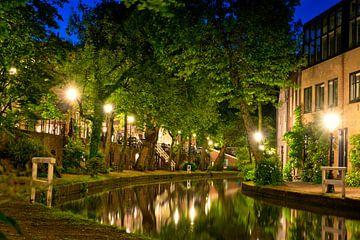Utrecht Oudegracht: Sterrenbrug bij Cafe de Poort van Martien Janssen