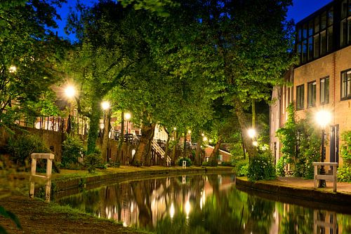 Utrecht Oudegracht: Sterrenbrug bij Cafe de Poort van