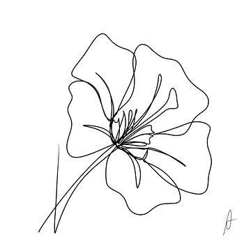 Eine Strichzeichnung Hibiskus von Ankie Kooi
