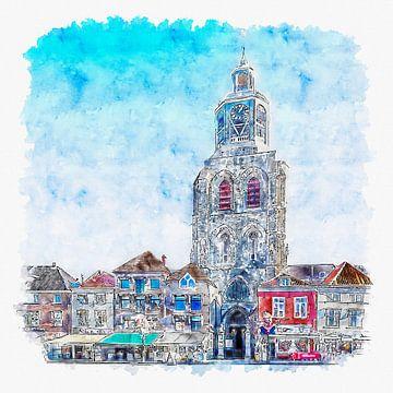 De Sint-Gertrudiskerk / Peperbus in Bergen op Zoom (aquarel)