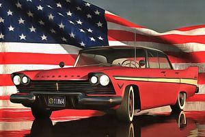 Oldtimer Plymouth met Amerikaanse vlag
