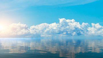 Horizon van de zee bij zonsondergang van Frank Grässel