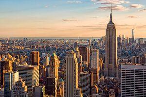 Gouden zonsondergang in Manhattan van