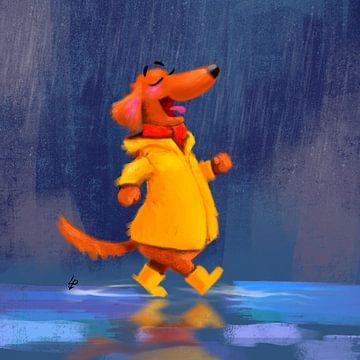 Dackel Tobie geht gerne im Regen spazieren von Linda van Putten