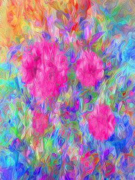 Komposition mit rosa Blumen von Joost Hogervorst