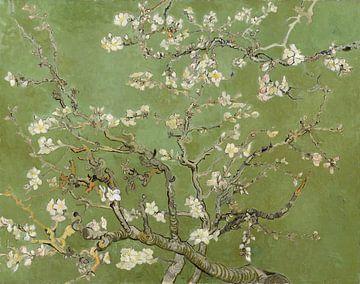 Mandelblüte (Kaki-Grün), Collage nach Vincent van Gogh von