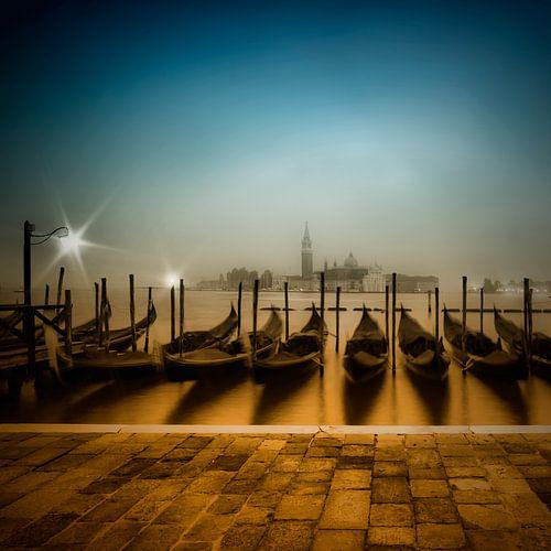 VENICE Gondolas on a foggy morning