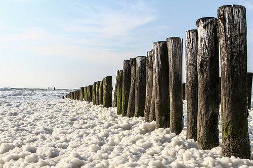 Zeezicht met schuim op golven