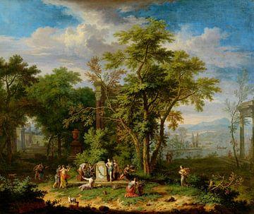Arkadische Landschaft mit feierlicher Opferung, Jan van Huysum