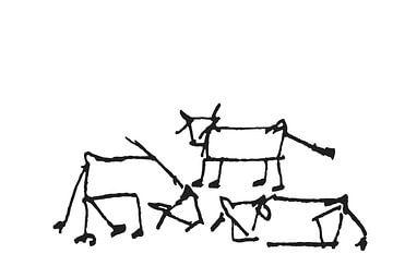 Drie koeien in weide. van h-Edys