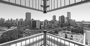 Skyline van Rotterdam in zwart-wit.