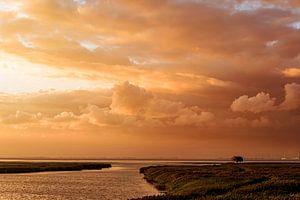 Kiekkaaste bij zonsondergang Diptiek  (tweeluik met Windroos bij zonsondergang) van Anita Meis