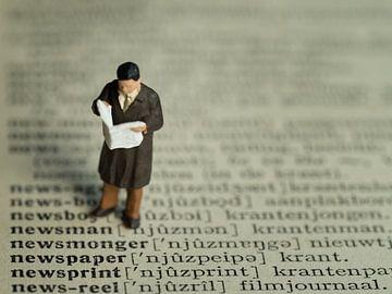Man met krant #3 van Lex Schulte
