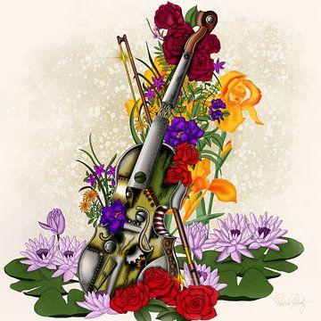 Gestampte oude viool met bloemen van Patricia Piotrak