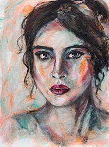 Abstrakte intuitive Porträt Frau mit schwarzen Haaren