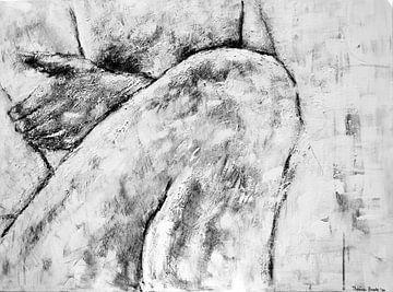 Gemälde eines nackten Mannes in Schwarz-Weiß. von Therese Brals