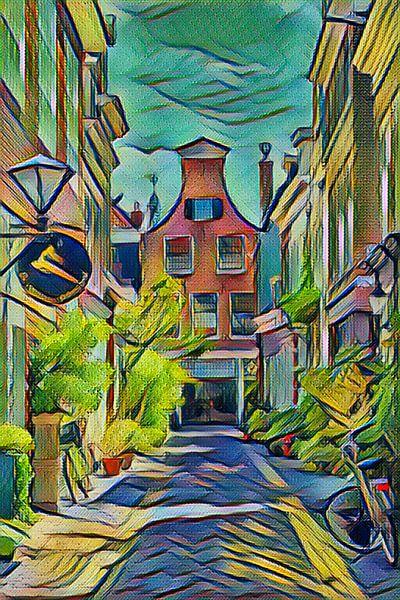 Winkelstraatje in  binnenstad Haarlem van Hilda Weges