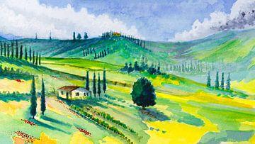 Unter der Sonne der Toskana | Aquarellmalerei von WatercolorWall