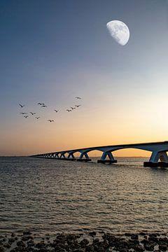 Die Zeelandbrücke bei Sonnenaufgang von Gert Hilbink