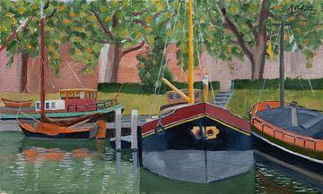 Lastkähne von Antonie van Gelder Beeldend kunstenaar