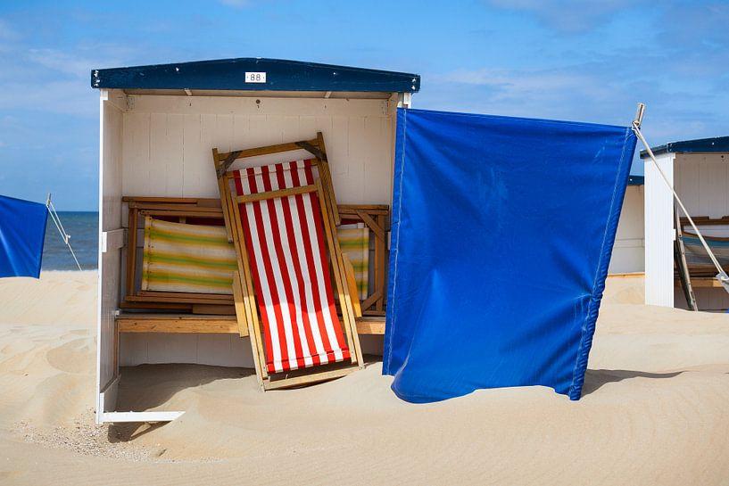 Strandhuisje 88 bij Katwijk aan Zee van Evert Jan Luchies