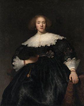 Portret van een jonge vrouw met een waaier, Rembrandt