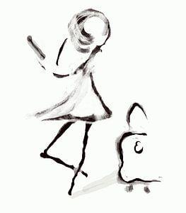 Mädchen mit Koffer Kunst der feinen Linien