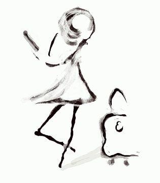Meisje met koffer fine lines art van Romana Vac