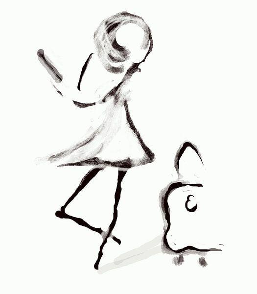 Mädchen mit Koffer Kunst der feinen Linien von Romana Vac