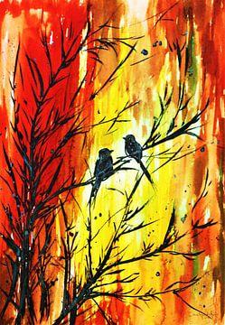 Zwei verliebte Vögel von Ineke de Rijk