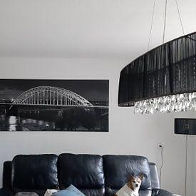 Klantfoto: Panorama Waalbrug Nijmegen zwart/wit van Anton de Zeeuw, op canvas