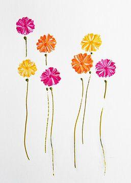 Bloemen elegantie oranje, roze, geel van Bianca ter Riet