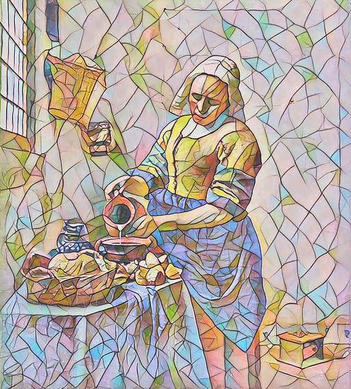 Het Melkmeisje van Vermeer in Mozaïek