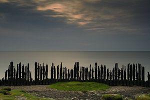 Laatste licht over De Waddenzee gezien vanuit Friesland van