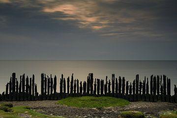 Letztes Licht auf dem Wattenmeer als von Friesland gesehen von Dirk-Jan Steehouwer