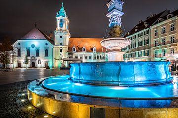 Stadhuis en Roland Fontein in Bratislava van Martin Wasilewski