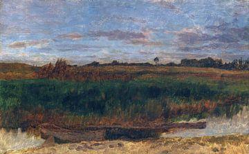 Schilffeld mit Kahn (Ferch am Schwielowsee), CARL SCHUCH, 1881 von Atelier Liesjes