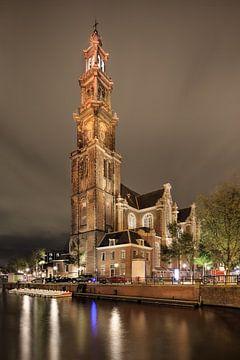 Vue de nuit sur l'emblématique Westerkerk sur Tony Vingerhoets