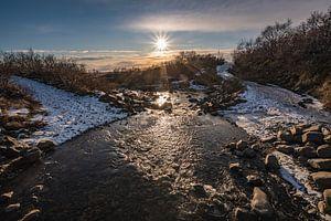De zon schijnt in Skaftafell nationaal park