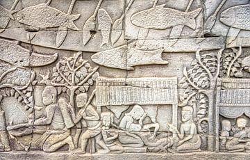 Reliëf op de muur in de tempel, Cambodja van Rietje Bulthuis