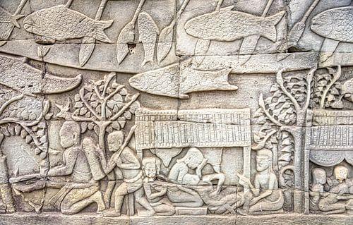 Reliëf op de muur in de tempel, Cambodja