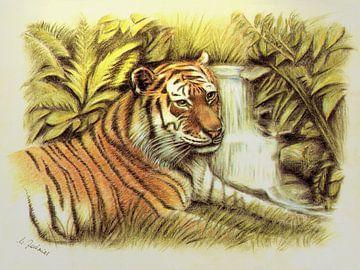 Tiger in freier Wildnis handgemalt von Marita Zacharias