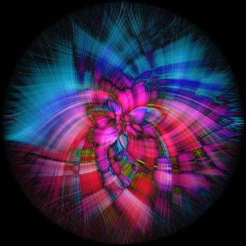 Abstract figuur met blauw en roze op zwarte achtergrond