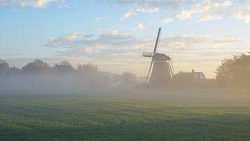 De molen in Oud Zuilen in het landschap in de mist op een vroege ochtend (vlakbij Utrecht) van Michel Geluk
