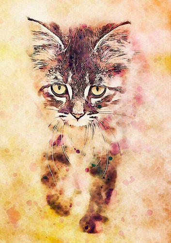 Watercolor Katze van