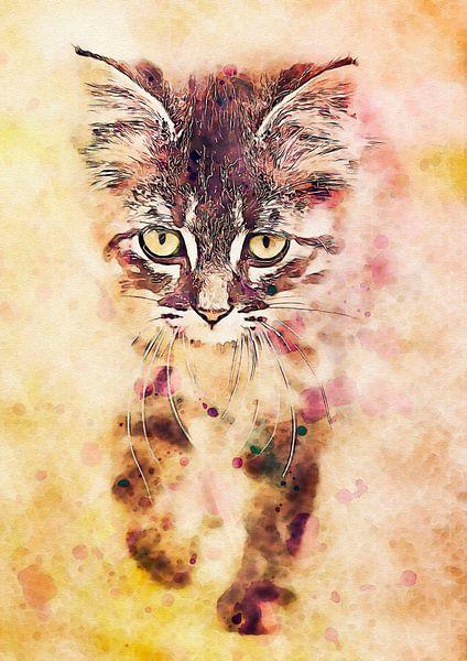 Watercolor Katze van Anne Ebert